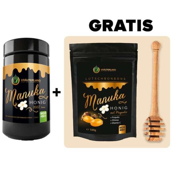 Manuka-Honig Special (+ GRATIS Manuka-Bonbons & Honiglöffel)